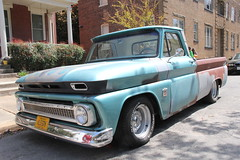 chevrolet task force(0.0), ford(0.0), antique car(0.0), chevrolet(1.0), automobile(1.0), automotive exterior(1.0), pickup truck(1.0), vehicle(1.0), truck(1.0), chevrolet c/k(1.0), bumper(1.0), land vehicle(1.0),