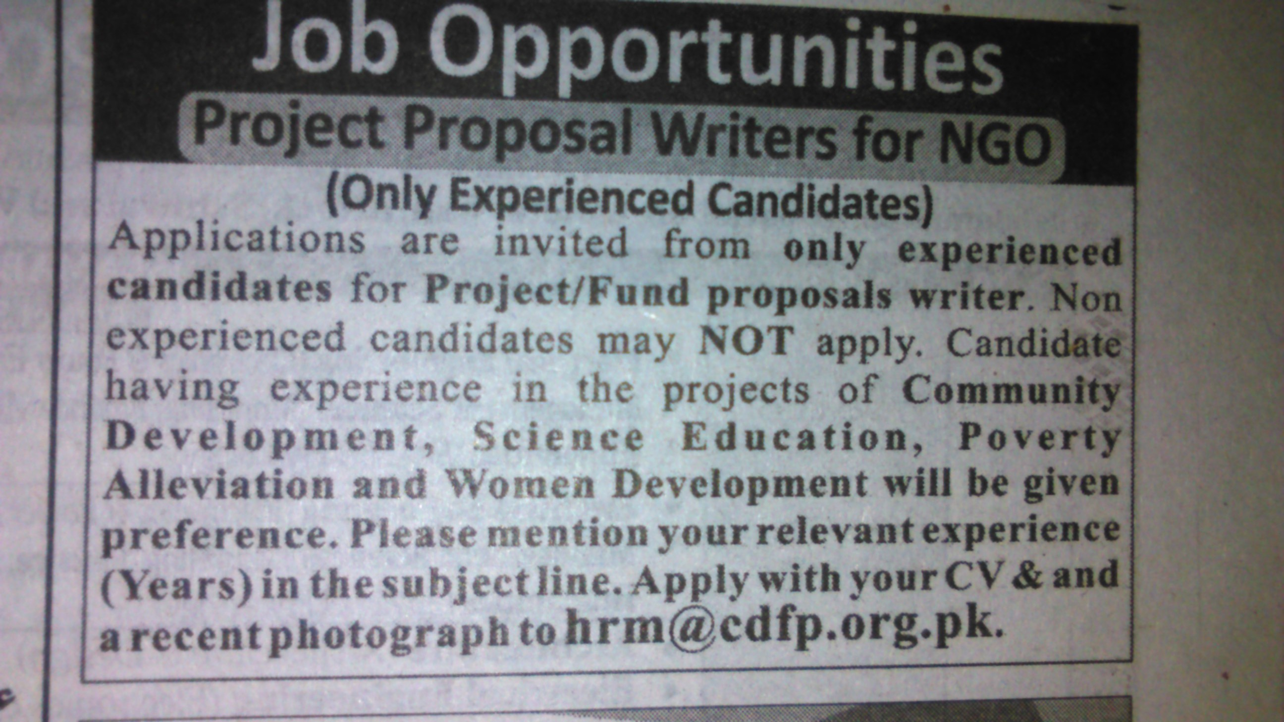 Project Proposal Writters for NGO Required
