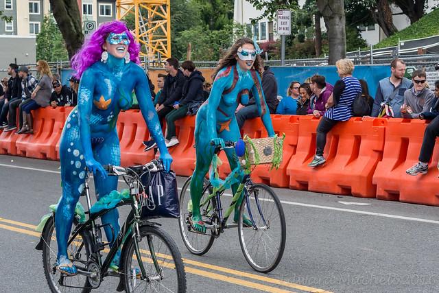 2016 Seattle Solstice Festival Parade, Naked Bike Ride, Honk Fest West