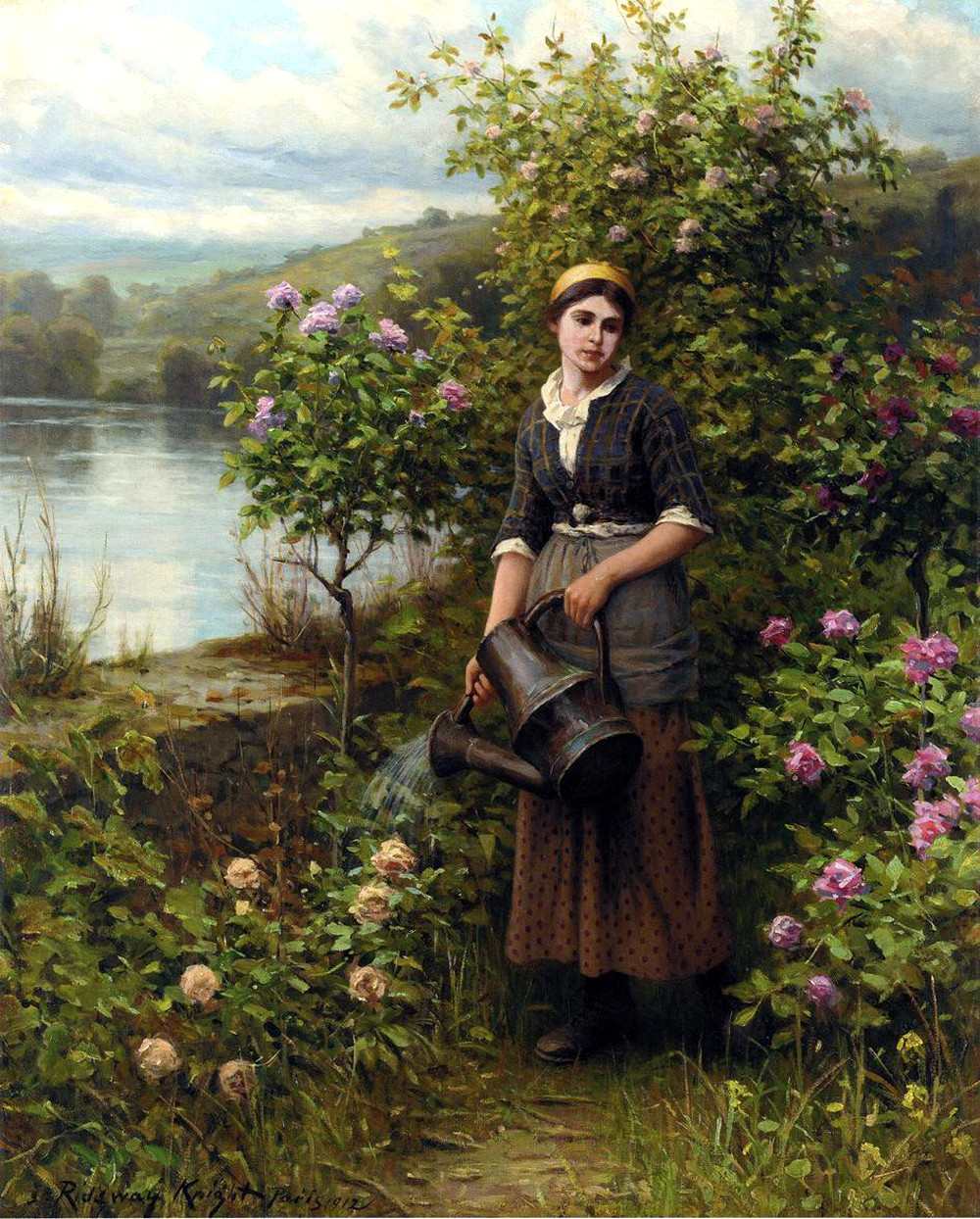 Watering the Garden by Daniel Ridgway Knight, 1912