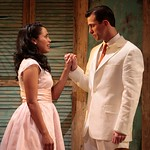 Flora (played by Monica Raymund) considers staying with her unfaithful fiancé Manuelo (played by Juan Javier Cardenas) in the Huntington Theatre Company's production of <i>Boleros for the Disenchanted</i> by José Rivera at the South End/Calderwood Pavilion at the BCA. Part of the 2008-2009 season. Photo: T. Charles Erickson