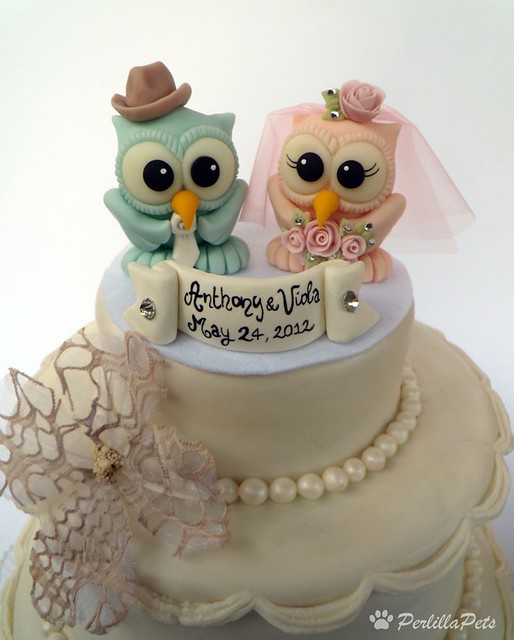 Owl Wedding Cake Topper With Cowboy Hat For Groom Flickr