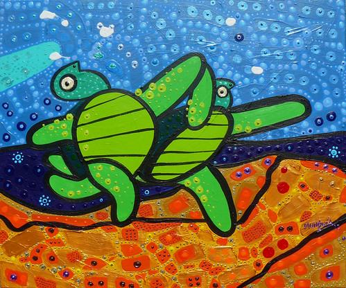 Tortugas en la Playa by Parodias de Pinturas Famosas