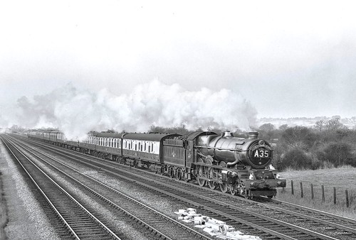 "King on the ""Red Dragon"" South Wales mainline east of Cardiff circa 1961 by John Wiltshire"