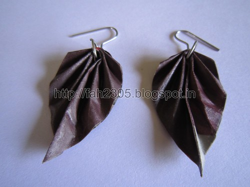 Handmade Jewelry - Origam Paper Leaf Earrings  (5) by fah2305
