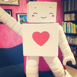 Superbot caught dancing in the library!