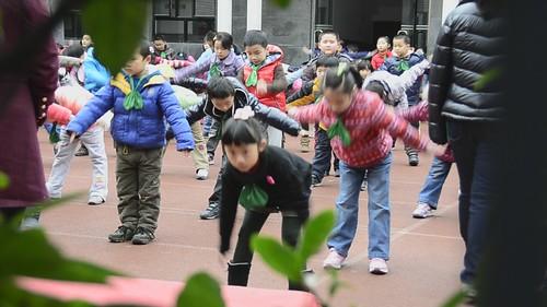 exercising school kids