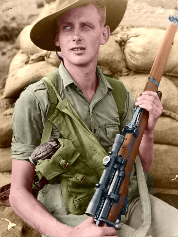Australian sniper P. Ennis with the Lithgow No1 MKIII HT