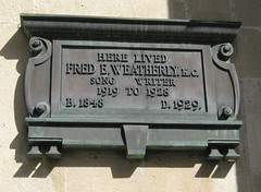 Photo of Fred E. Weatherly bronze plaque