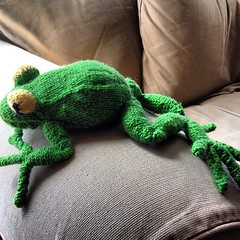 One finished frog. I think he came out kind of cute. :)