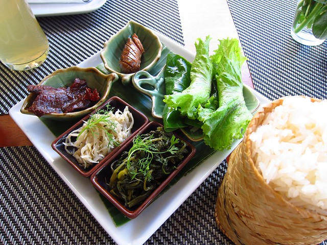 Sinh Savanh, Pickled Greens, Pickled Bamboo, and Luang Prabang Sausage