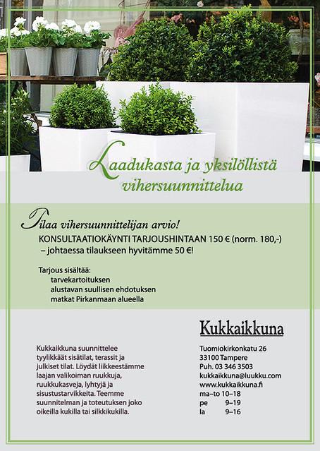Kukkaikkunan mainos Tampereen Asuntomessujen Aeroc Kivitalo Louhi -messuesitteeseen