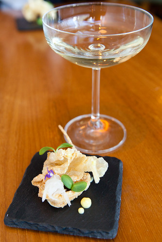 Amuse bouche: Yuba, daikon, orange mayonnaise