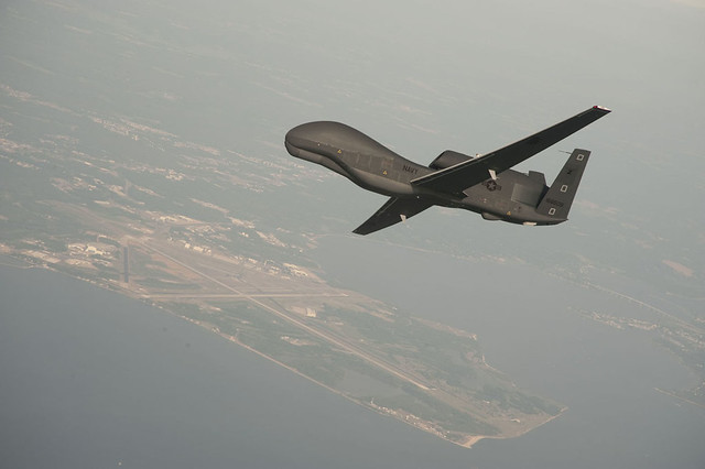 A Global Hawk unmanned aerial vehicle conducts tests over Naval Air Station Patuxent River, Md.