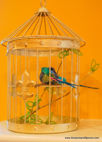 Craft birds in cage