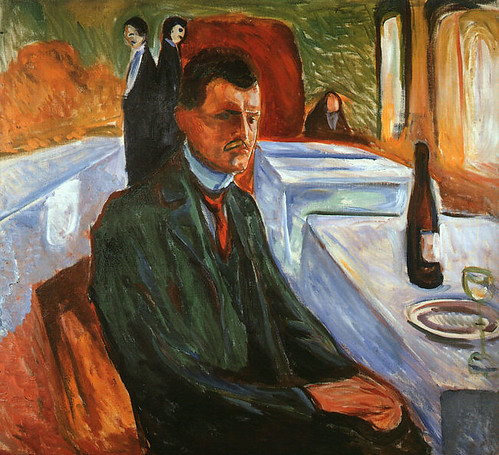 Munch, Edvard (1863-1944) - 1906 Self-Portrait with a Wine Bottle (Munch Museum, Oslo, Norway) by RasMarley