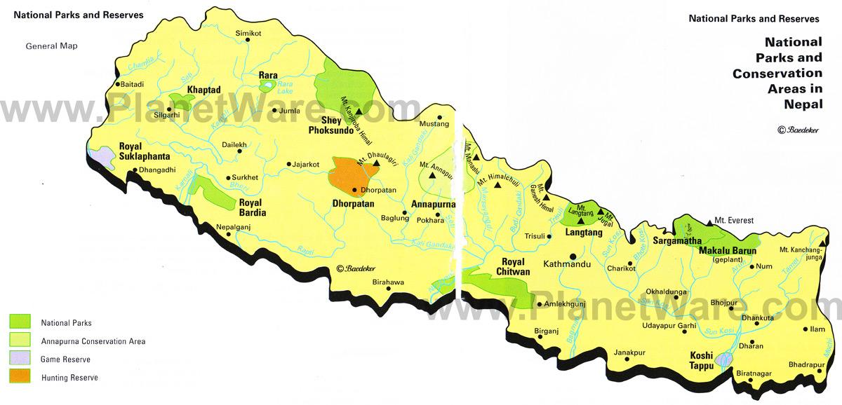 Mapa Parques Naturais Nepal