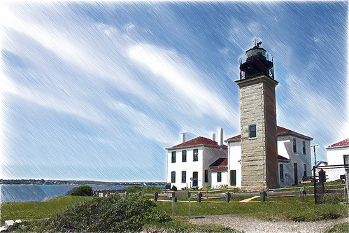 Beavertail Lighthouse with sketch effect by nelights