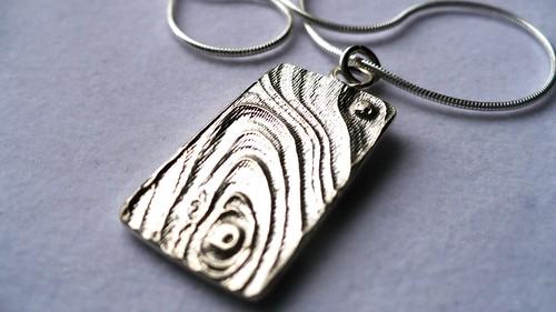 Woodgrain Texture Silver Pendant