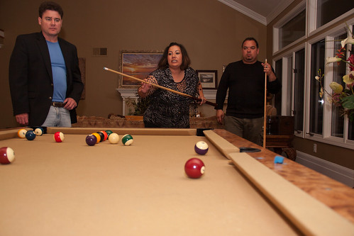 Glenn, Stephanie, and Me playing pool