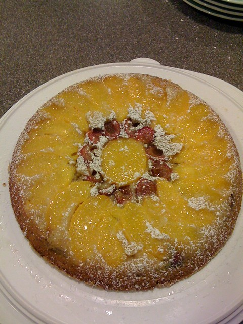 Peach & Cherry upside-down Cake