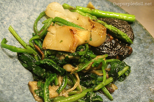 Spinach, Asparagus, Enoki, Shiitake and Konyaku