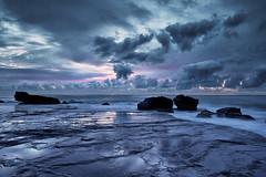[フリー画像素材] 自然風景, ビーチ・海岸, 朝焼け・夕焼け, 雲, 青色・ブルー ID:201206072000