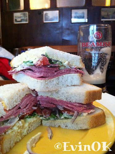 Corned beef salad sandwich and a pint of Beamish at Long valley, Cork City
