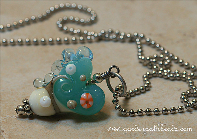 I love the sea- Lampwork Necklace