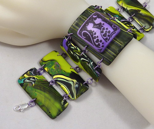 Polymer Clay YaYa Bracelet Purple Cats