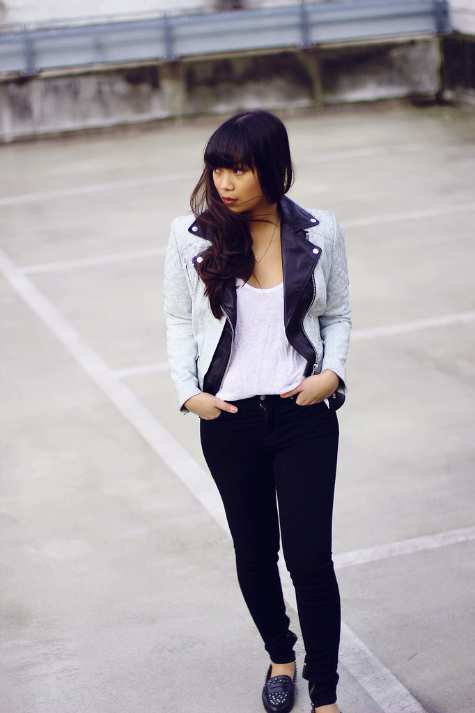 MUUBAA CRACKED TUGELA LEATHER JACKET MODEJUNKIE, BLKDNM Skinny Jeans, ZARA Studded Loafers