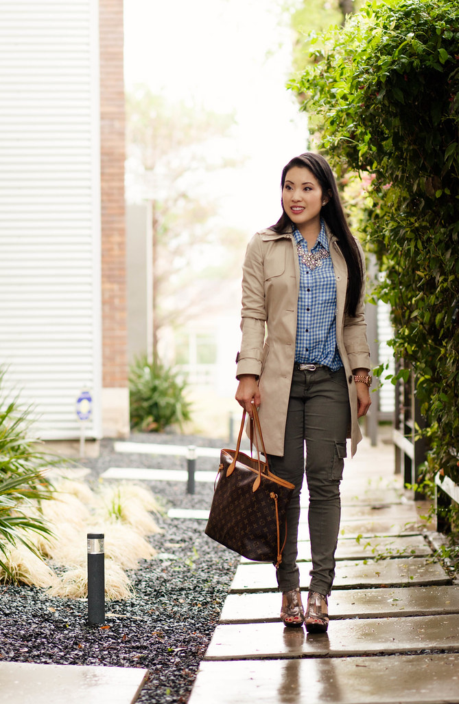cute & little blog | petite fashion | spring casual classics outfit | khaki trench, gingham shirt, olive skinny cargo pants, crystal statement necklace, louis vuitton neverfull mm