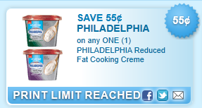 Philadelphia Reduced Fat Cooking Creme Coupon