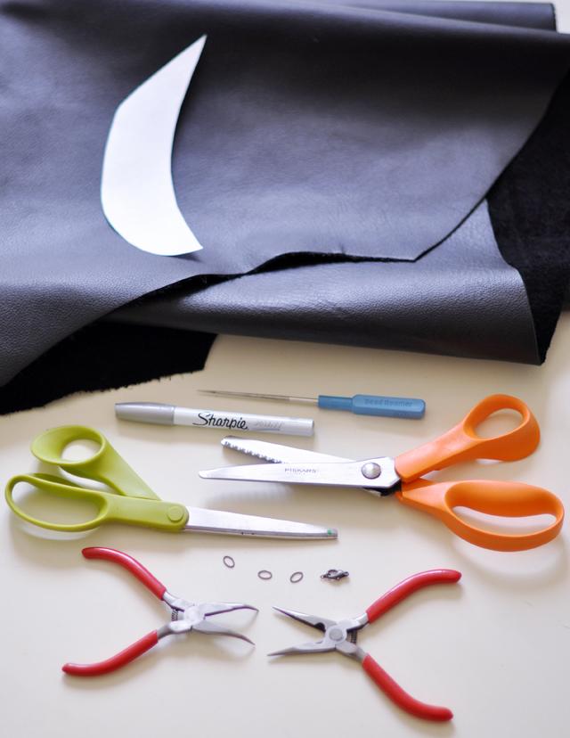 leather peter pan collar diy -materials