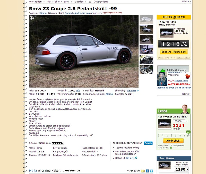 1999 Z3 Coupe | Arctic Silver | Black | Ad Screenshot
