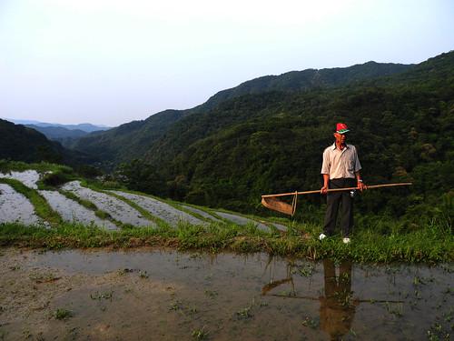 貢寮的老農民以古老的工具除蟲。廖靜蕙 攝