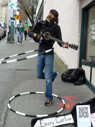 Seattle street musician full of joy