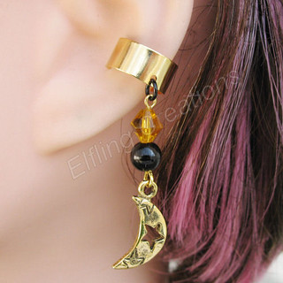 Black and Gold Crescent Moon Ear Cuff
