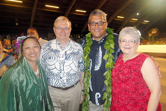 At the Merrie Monarch with Gail, Don Straney and Mayor Billy Kenoi