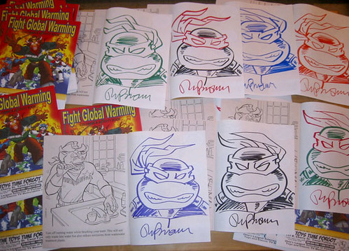 "THE TOYS TIME FORGOT :: FREE COMIC BOOK DAY;"" FIGHT GLOBAL WARMING  COLORING BOOK Featuring The Wild West C.O.W.-Boys of Moo Mesa "" - TMNT Head sketches by Ryan Brown (( May 5, 2012 ))"
