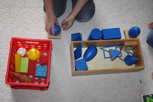 Matching Real-Life Objects to the Geometric Solids (Photo from Montessori MOMents)