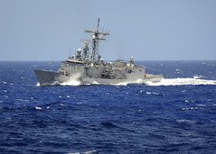 In this file photo, guided-missile frigate USS Vandegrift (FFG 48) performs maneuvers during the maritime exercise Koa Kai in the Hawaiian operating area March 31, 2012. (U.S. Navy photo by Mass Communication Specialist 2nd Class Daniel Barker)