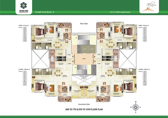 2nd to 7th & 9th to 12th Floor Plan of Vascon Ela - 2 BHK 2.5 BHK Flats opposite Suzlon One Earth at Sade-Satara-Nali (Sade-Satra-Nali) Gram Panchayat, Hadapsar, Pune 411028