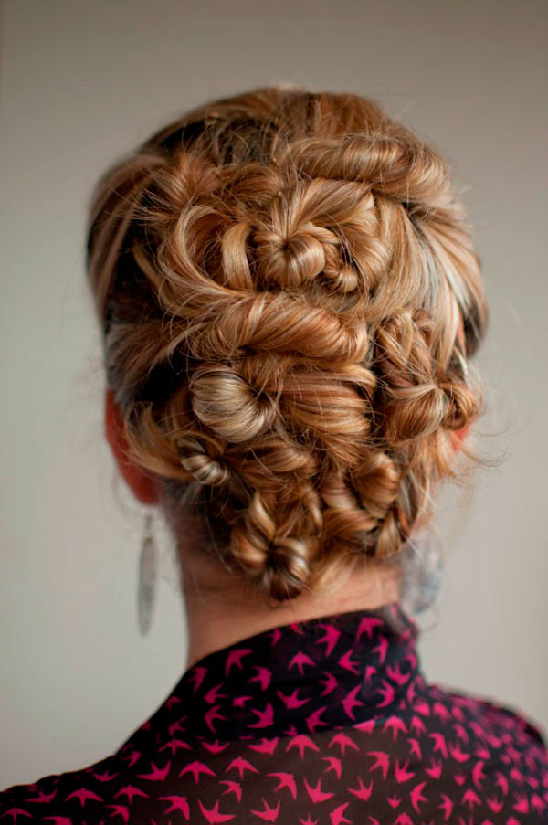 multiple twist updo hairstyle