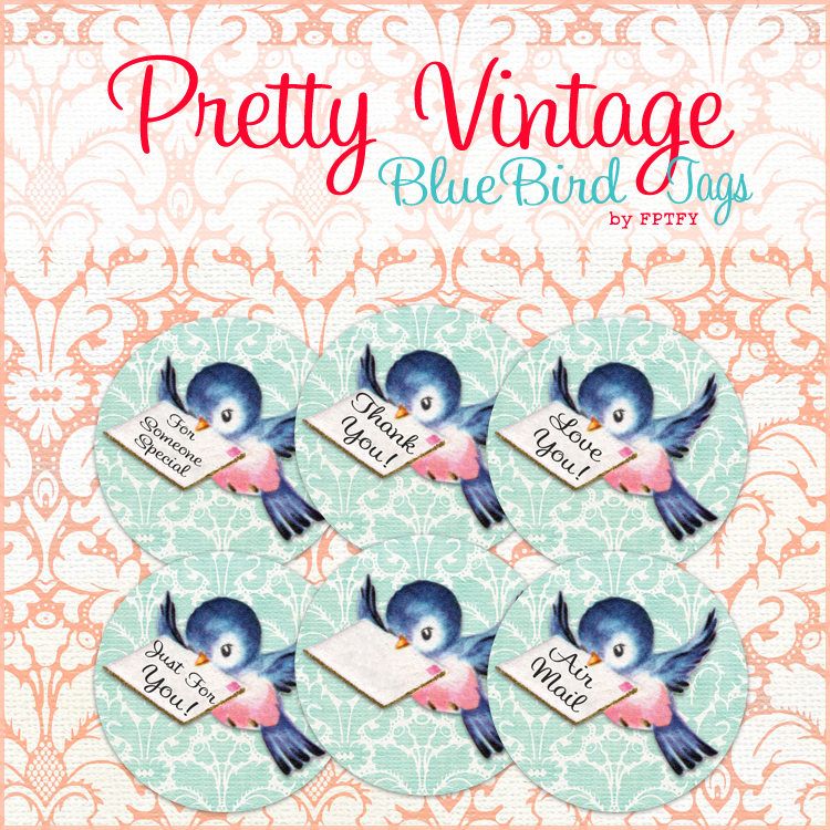 Free Vintage Bluebird Clip Art 2 in circles Tags Web Ex by FPTFY