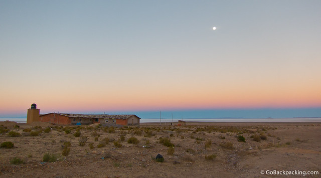 The moon rising over the world's largest salt flats