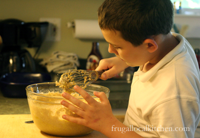 Mixing the pancake batter