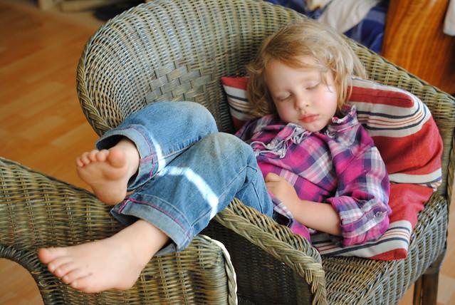 Eowyn sleeping in chair