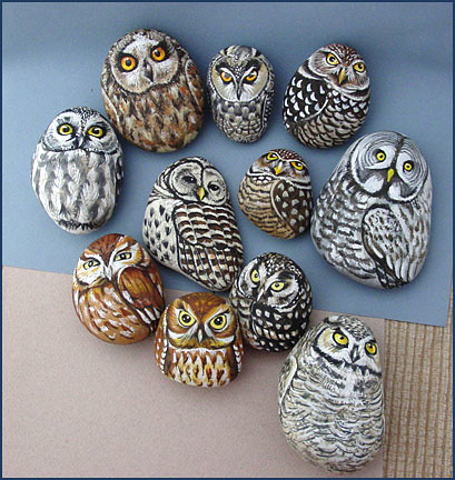 Owls. Painted rocks (stones) by Alika-Rikki