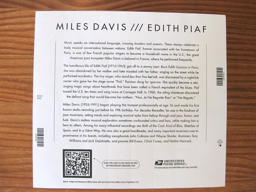 New Miles Davis/Edith Piaf stamp sheet, back